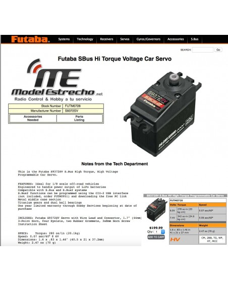 FUTABA SERVO DIGITAL S-BUS S9372SV