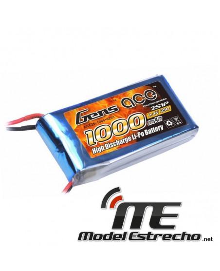Gens Ace 1000mah 7,4v 25C 2S1P LIPO BATERIA PACK