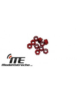 ULTIMATE TUERCAS 3mm AUTOBLOCANTE ALUMINIO ROJAS 3mm (10u.)