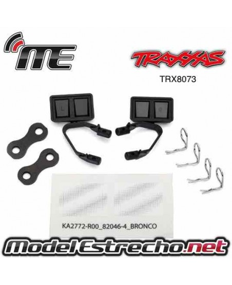 TRAXXAS MIRRORS SIDE BLACK ( LEFT & RIGHT ) RETAINERS (2) BODY CLIPS (4)
