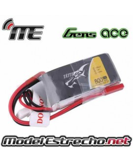 GENS ACE 800mah 7.4v. 45C 2S1P LIPO BATTERY PACK WITH JST PLUG