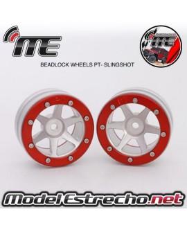 BEADLOCK WHEELS PT - SLINGSHOT SILVER/RED 1.9 (2U.)