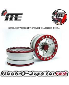 BEADLOCK WHEELS PT - POWER SILVER/RED 1.9 (2U.)