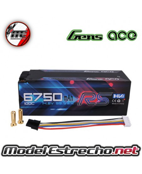 GENS ACE 6750MAH 14.8v. HIGH VOLTAGE 100C 4S1P HARDCASE LIPO PACK WITH MOLEX